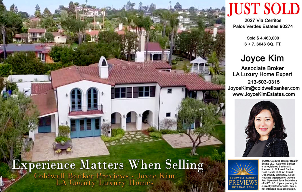 Joyce Kim Estates Postcard-1 Just Sold 2027 Via Cerritos -1
